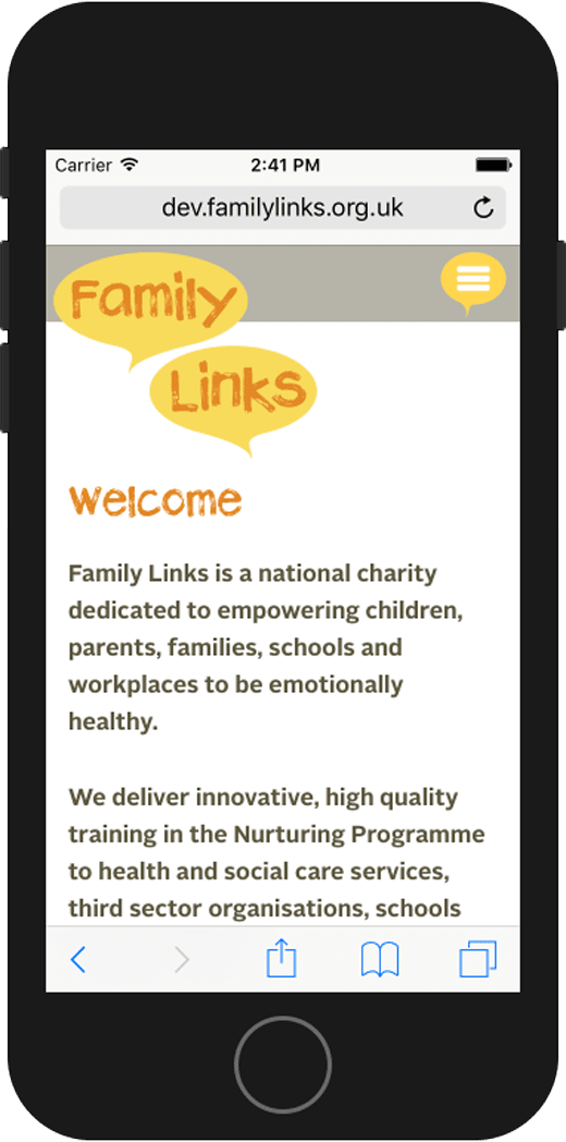 Family Links website home – mobile view.
